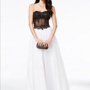 Blonde Nites Appliqued Illusion Corset Ball Gown